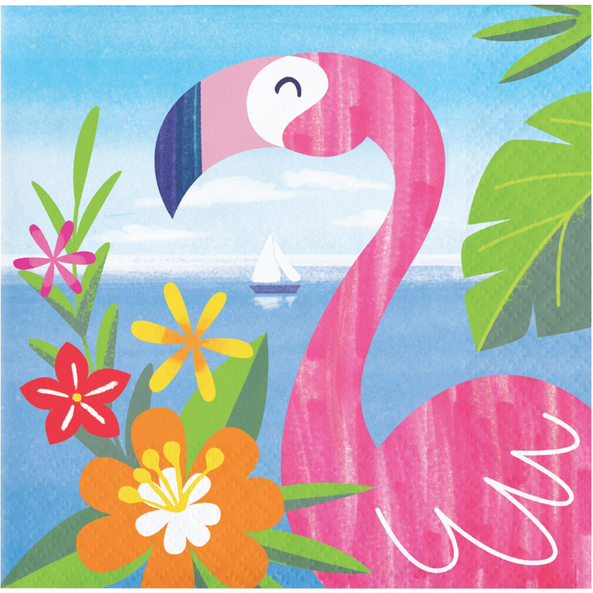 Club Pack of 192 Pink and Blue Lush Luau Themed 2-Ply Beverage Napkins 5''
