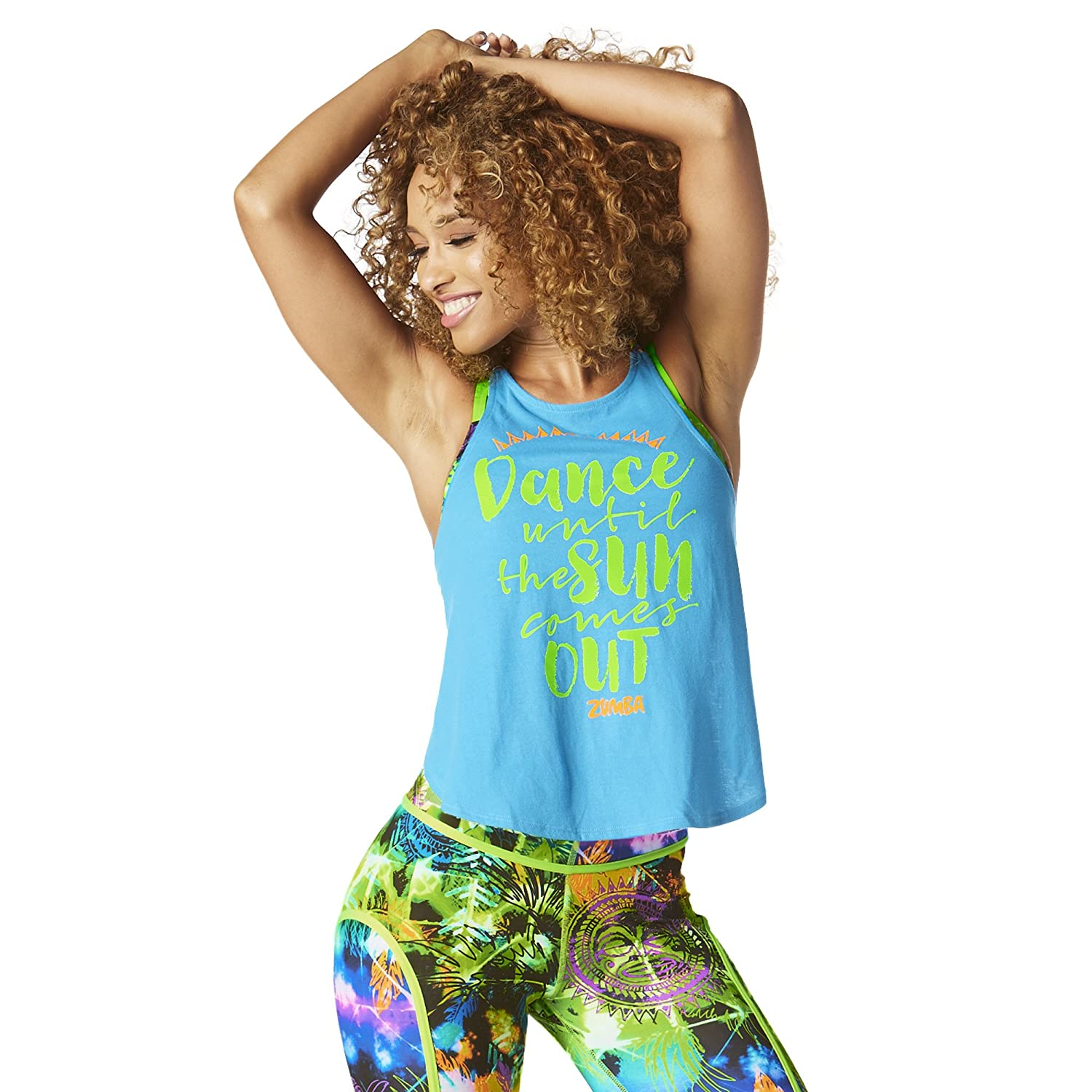 4c2f559f5757d Amazon.com  Zumba Women s Workout Open Back Tank Top with Fashion ...