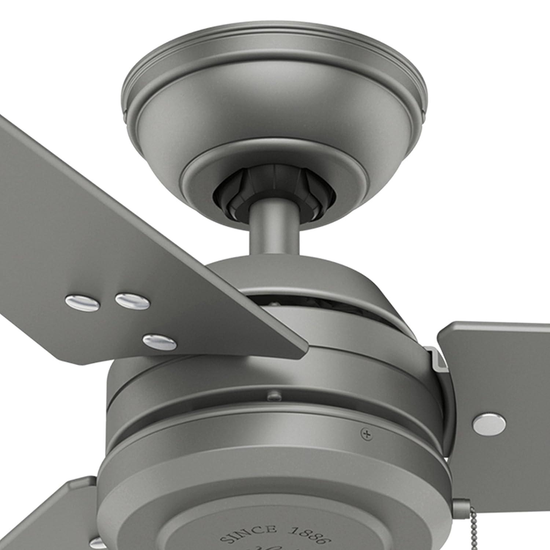 Hunter Fan 52 inch Outdoor Industrial Ceiling fan in Matte Black, 3-Blade Renewed Matte Silver