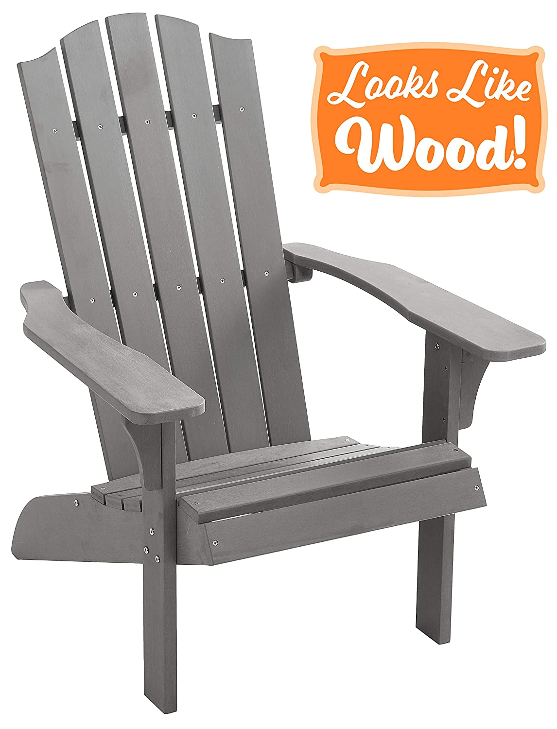 PolyTEAK Element Faux Wood Poly Adirondack Chair, Gray Adult-Size, Weather Resistant, Made from Plastic