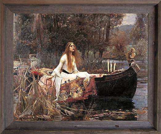 The Lady Of Shalott John Waterhouse Boat Black Framed Art Print Picture 19x23