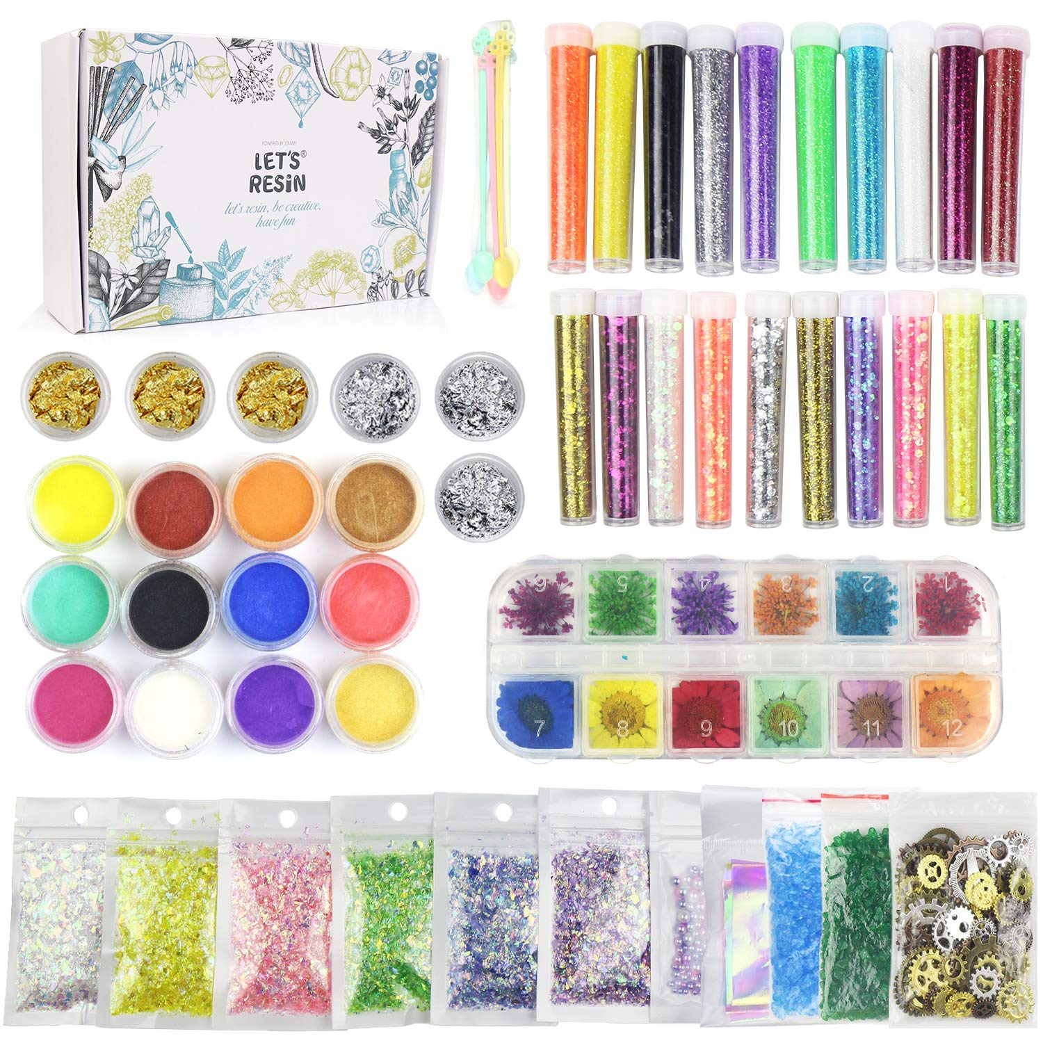 50 Pack Resin Jewelry Making Supplies Kit LET'S RESIN Art Craft Supplies for Resin, Slime, Nail Art, DIY Craft, Including Glitter Sequins,Pearl Pigment, Mylar Flakes, Dry Flowers, etc by LET'S RESIN