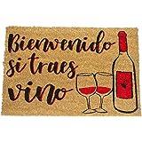 koko doormats Felpudo de Vino y Cerveza para Entrada de Casa Original y Divertido/Fibra Natural de Coco con Base de PVC, 40x60 cm (Bienvenido si traes Vino)
