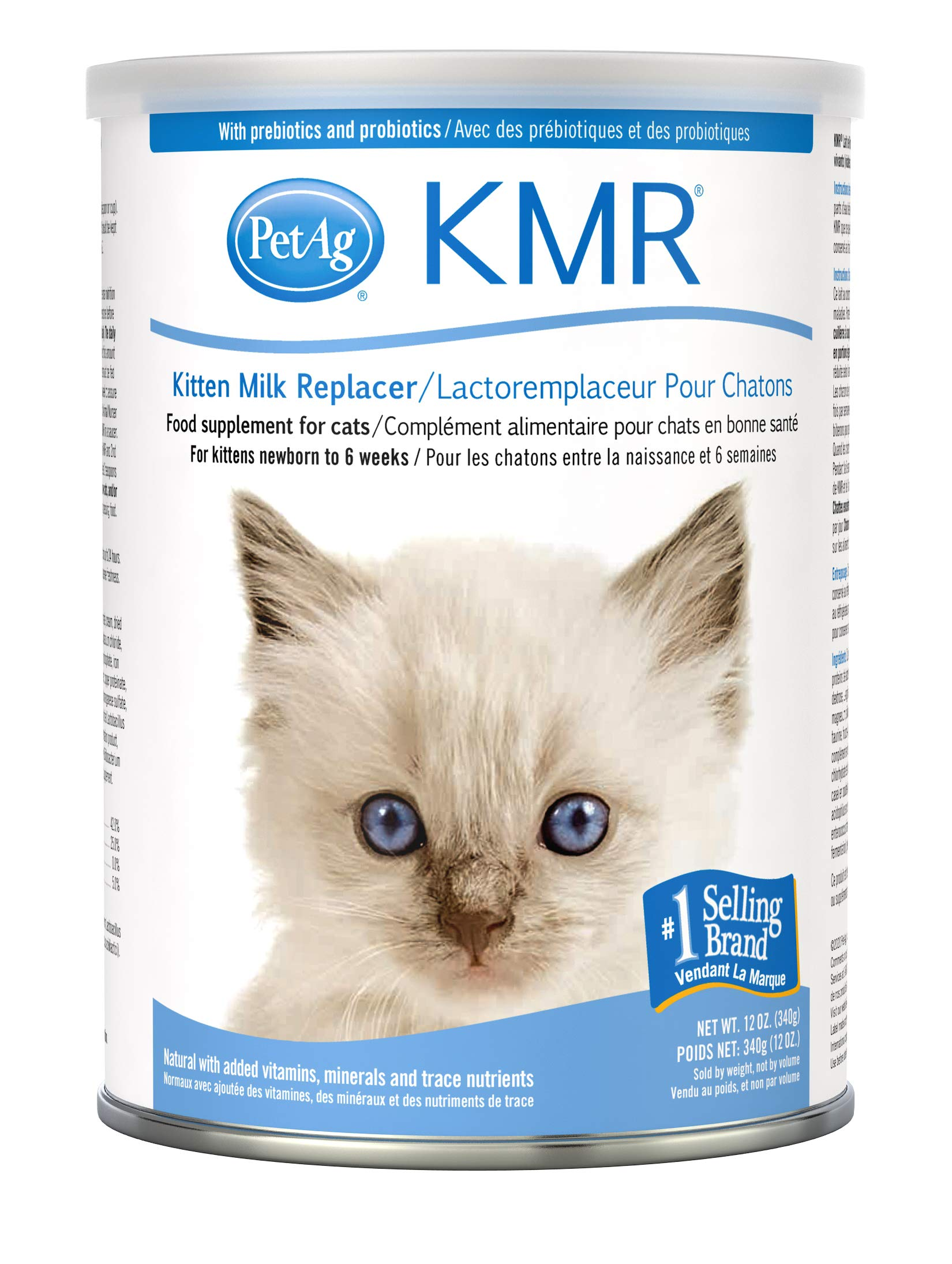 PetAg KMR Kitten Milk Replacer Powder - Prebiotics and Probiotics - Newborn to Six Weeks - Kitten Formula - 12 oz