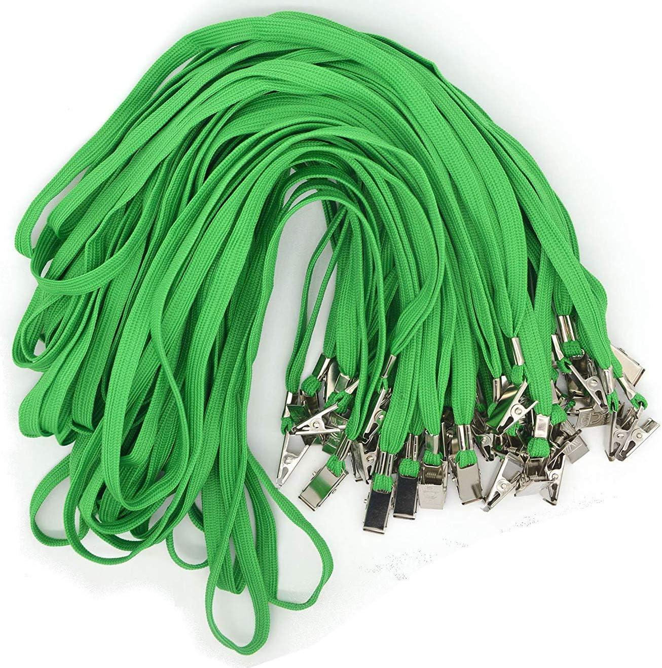 Bird Fiy 50 Pcs Cotton Lanyard Bulldog Clip 32-inch Flat Braid Neck Lanyard for Id Cards/Badges (Green)