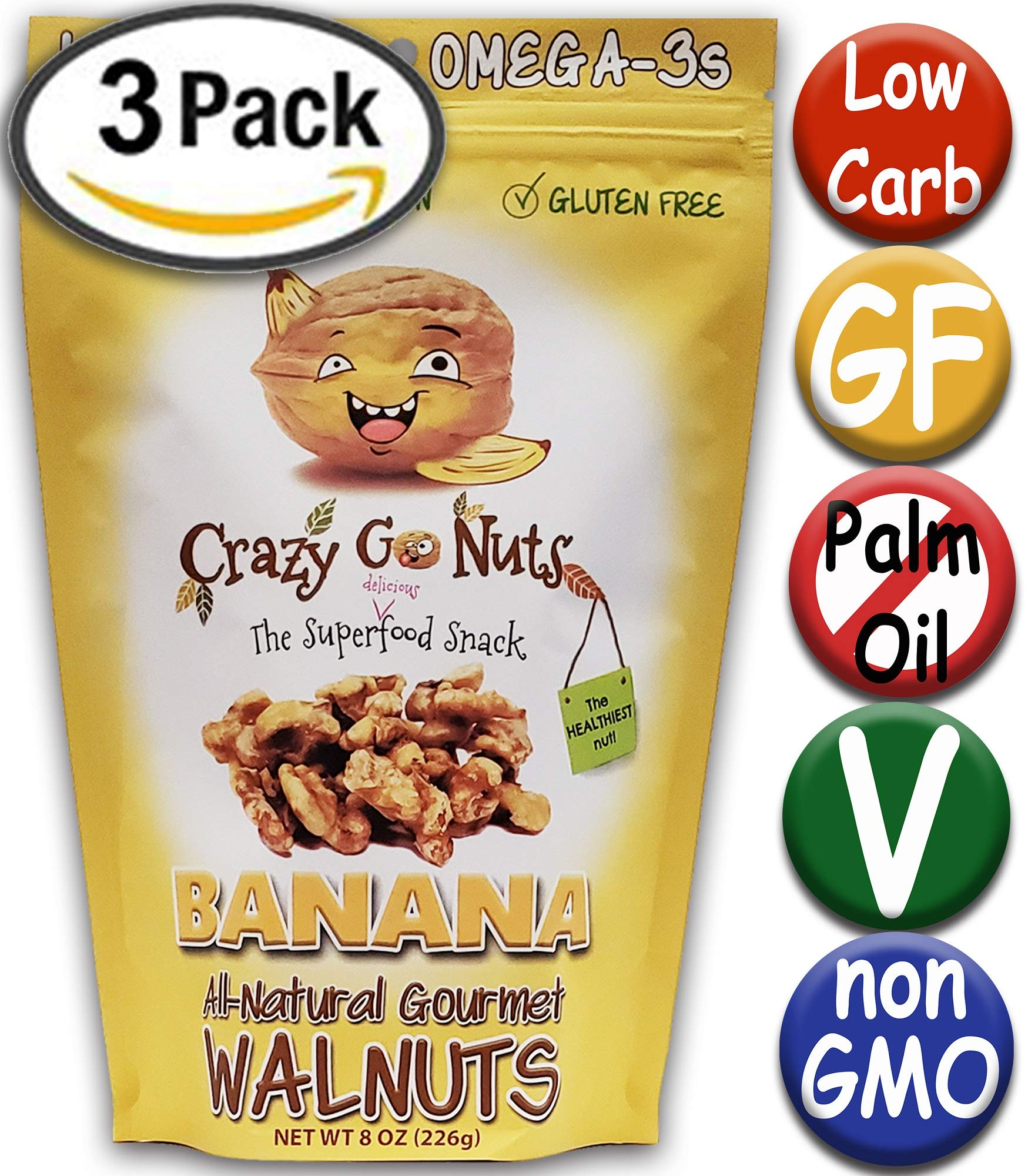 Crazy Go Nuts Flavored Walnuts & Healthy Snacks: Gluten Free, Vegan, Non GMO, 8oz 3 pack - Banana by Crazy Go Nuts