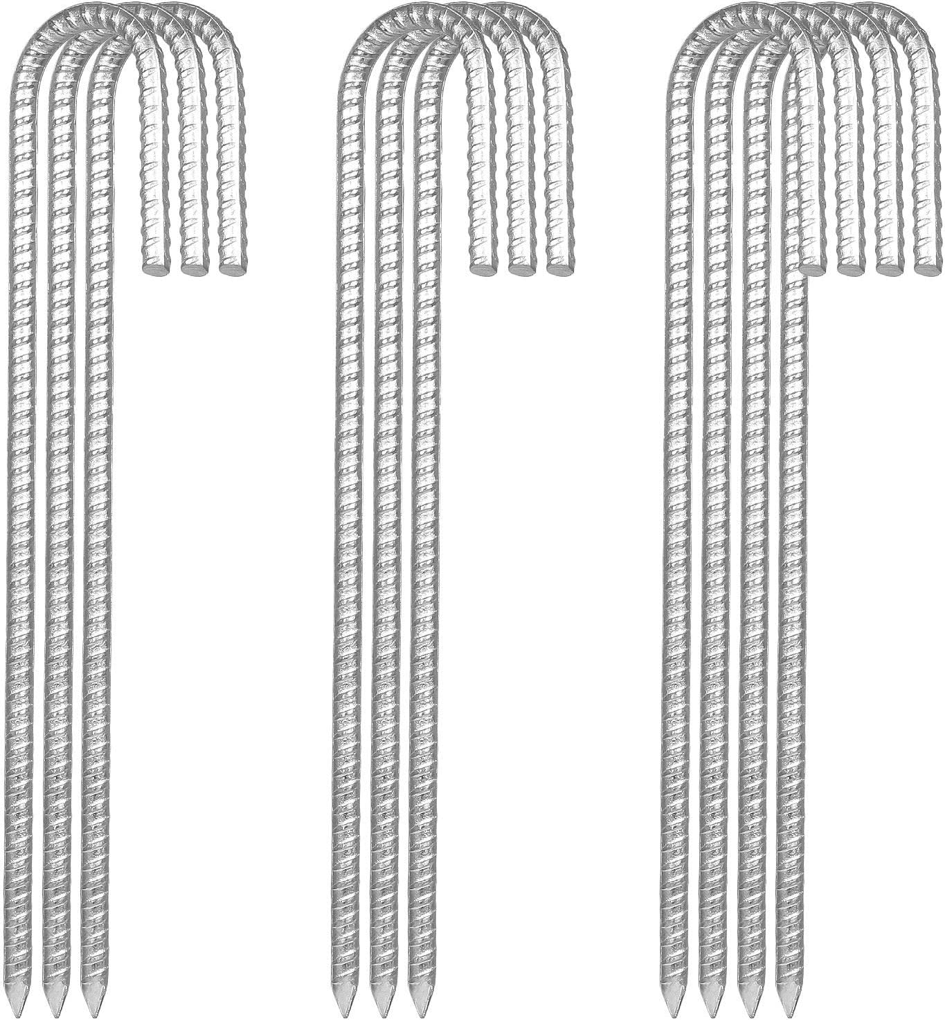"""10 Pack 12""""Galvanized Rebar Tent Stakes J Hook, Heavy Duty J Hook Ground Anchors, Curved Steel Plant Support Garden Stake with Chisel Point end for Fence Stakes, Canopies, Sheds, Swing Sets"""