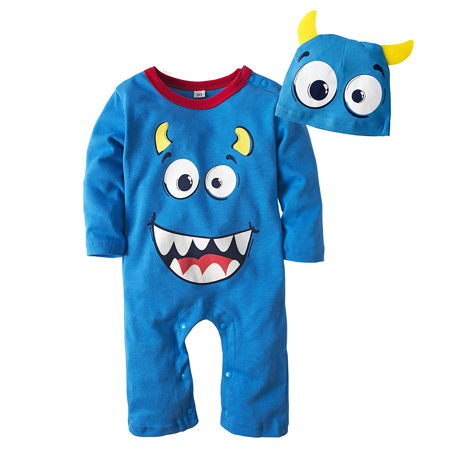 BIG ELEPHANT Baby Boys 1 Piece Long Sleeve Cute Halloween Pumpkin Romper Jumpsuit