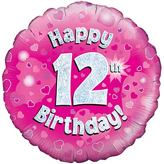 Oaktree 18 Inch Happy 12th Birthday Pink Holographic Balloon One Size