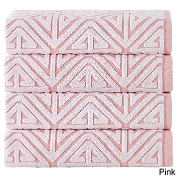 Juego de 4 toallas de jacquard rosas, toallas de baño con medallón geométrico, elegantes