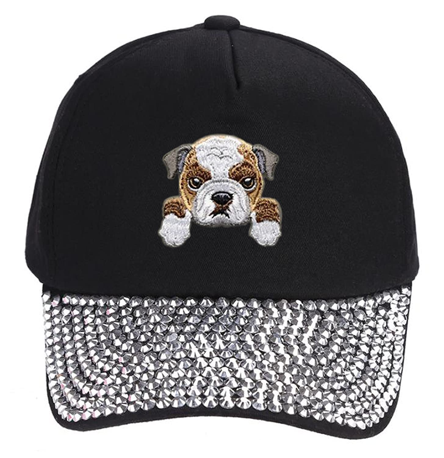 Amazon.com  Bulldog Hat Cute Puppy Dog Face Snapback Cap (Black)  Clothing 7599bc87ff8
