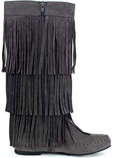 e0e3a25035340 Refresh Jolin-02 Women  s Fringe Moccasin Flat Heel Zipper Under Knee High
