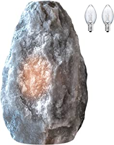 Himalayan Glow 17031 Hand Crafted Naked Grey Crystal, Natural Night Light, (ETL Certified) Dimmer Switch,Salt Lamp 3-5 LBS (2 Extra Bulbs)