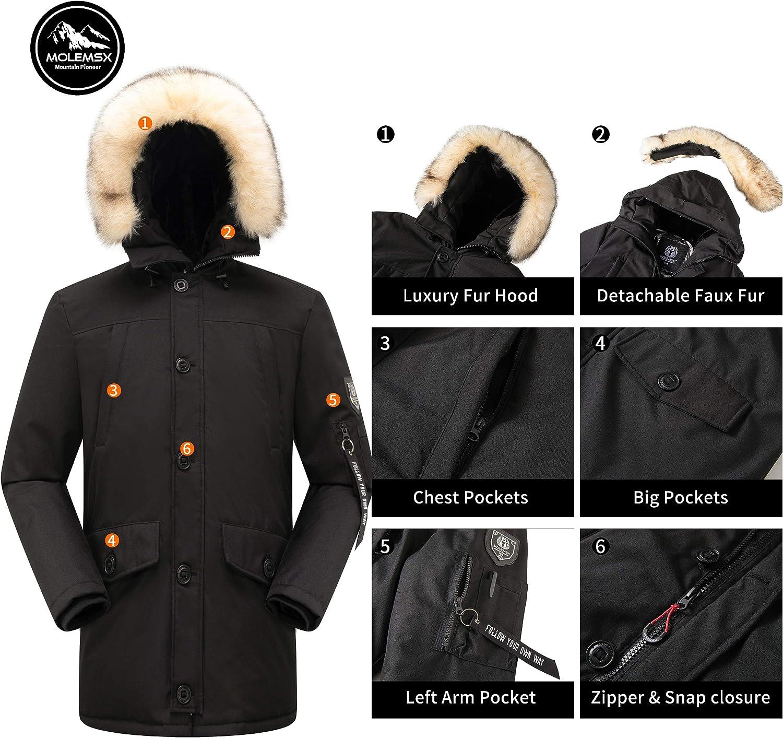 Molemsx Men's Down Jacket Warm Winter Parka Puffer Coat with Fur Hood Faux-Fur Trim XS-3XL: Clothing