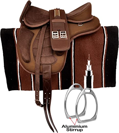 "HR, International Synthetic Treeless FREEMAX English Horse Saddles Tack, with Handle + Girth, Leather Straps, Aluminium Stirrups & Navajo Saddle Pad Size 14' to 18""' Inch"