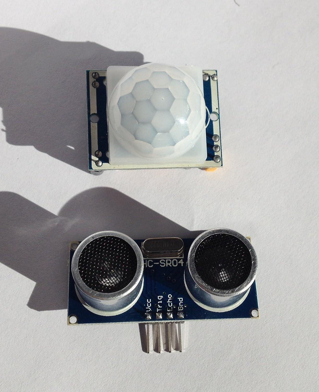 Detector de movimiento por infrarrojos 1 x HC - SR501 y 1 x Doble y sensor de distancia ultrasónico HC-SR04 - Ideal para su uso con la Raspberry Pi y ...