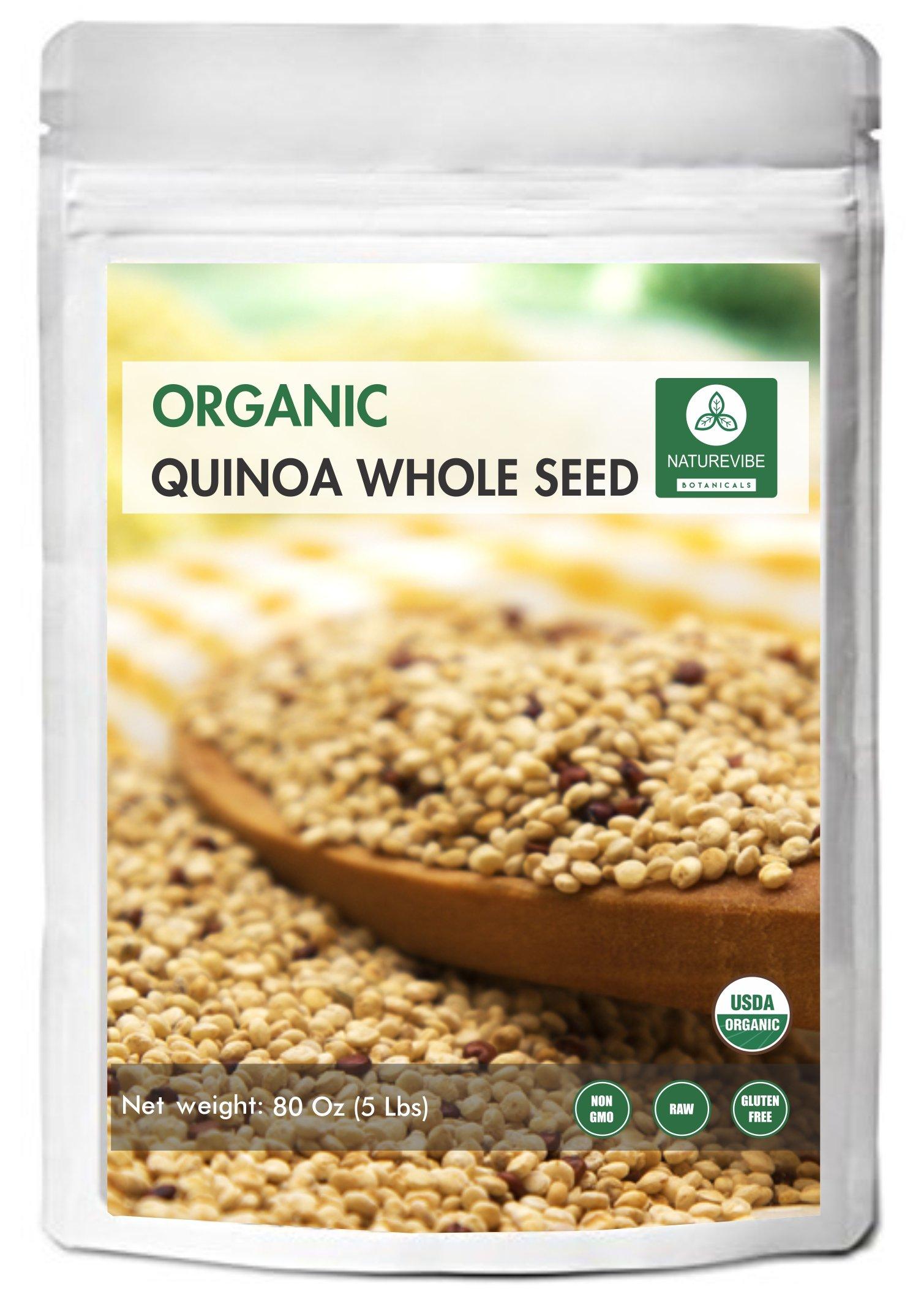 Organic Quinoa (5lb) by Naturevibe Botanicals, Gluten-Free & Non-GMO | Chenopodium quinoa | Rich in Protein, Iron & Fiber. by Naturevibe Botanicals