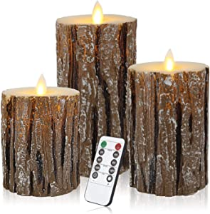 "Flameless LED Candles,Candle Flickering Cedar-Bark Pillar 100 Hours Moving Flame 4"" 5"" 6"" Set of 3 Real Wax Battery Operated with Timer and Remote Control for Wedding Christmas Party Decor"