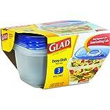 Glad 70045 GladWare Deep Dish Food Storage Containers, 64 oz, 3/Pk, 6 Pk/Ctn