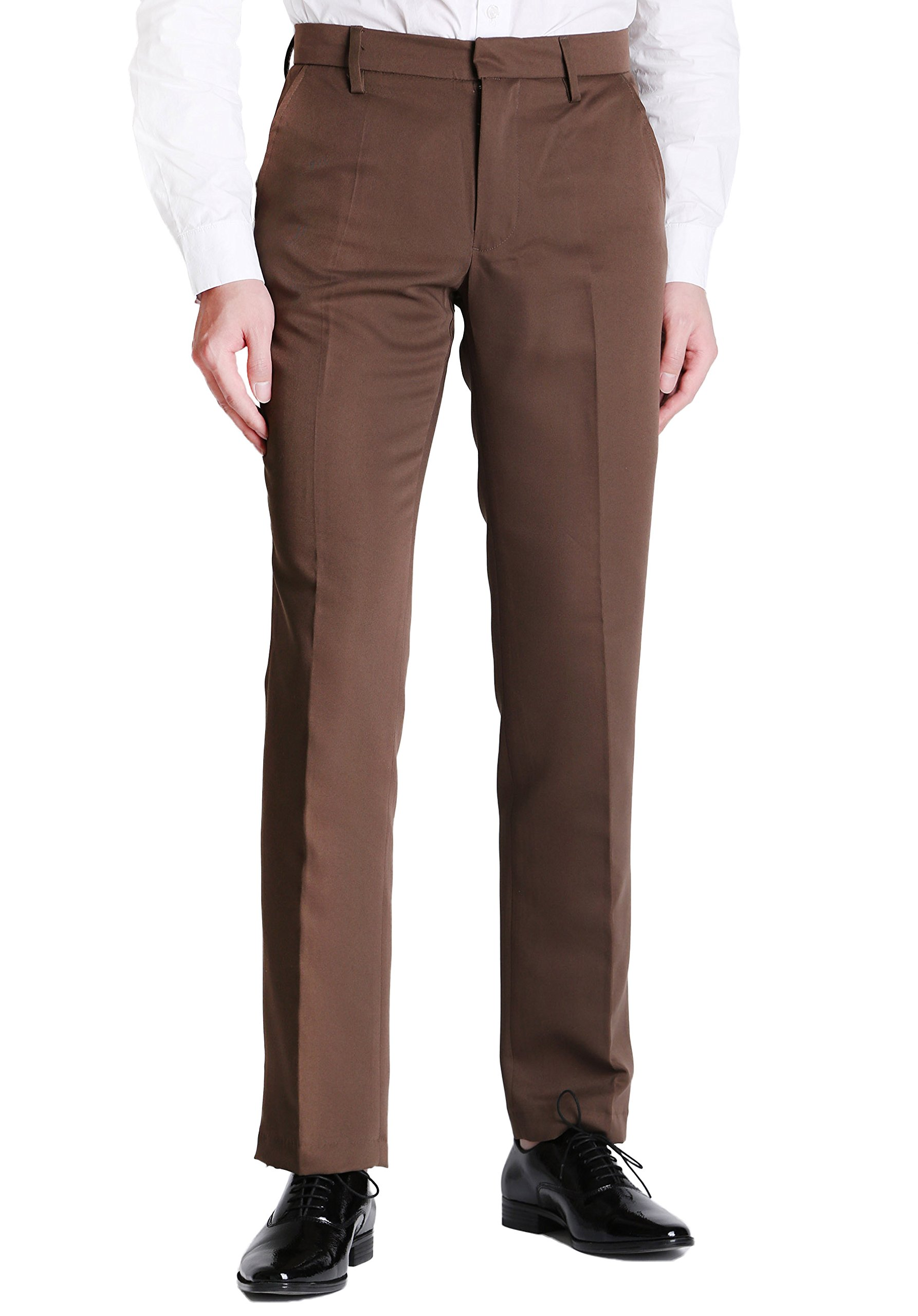 Vero Viva Men's Straight Leg Fit Flat Front Dress Pants Business Casual Trousers(34W32L,Coffee)