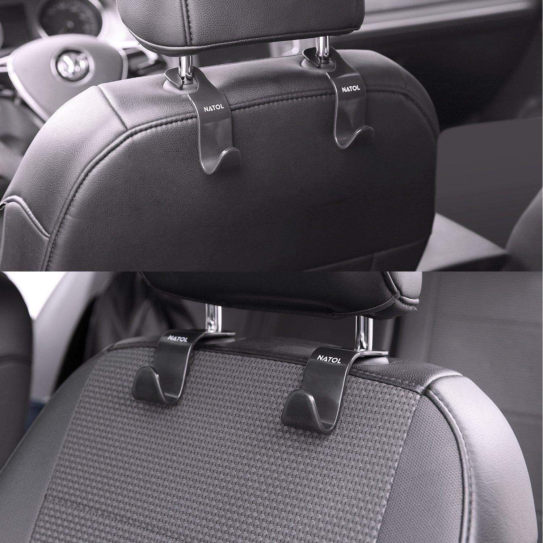 Car Headrest Hooks, NATOL Car Seat Storage Organiser Hanger for Purse Handbag Coat and Grocery Bag, 4 Packs