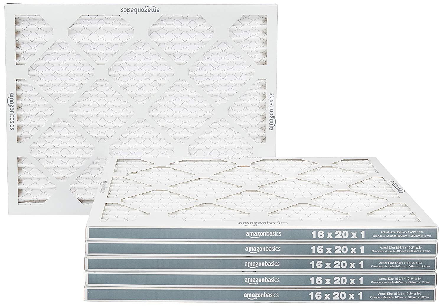 AmazonBasics Merv 11 AC Furnace Air Filter - 16'' x 20'' x 1'', 6-Pack