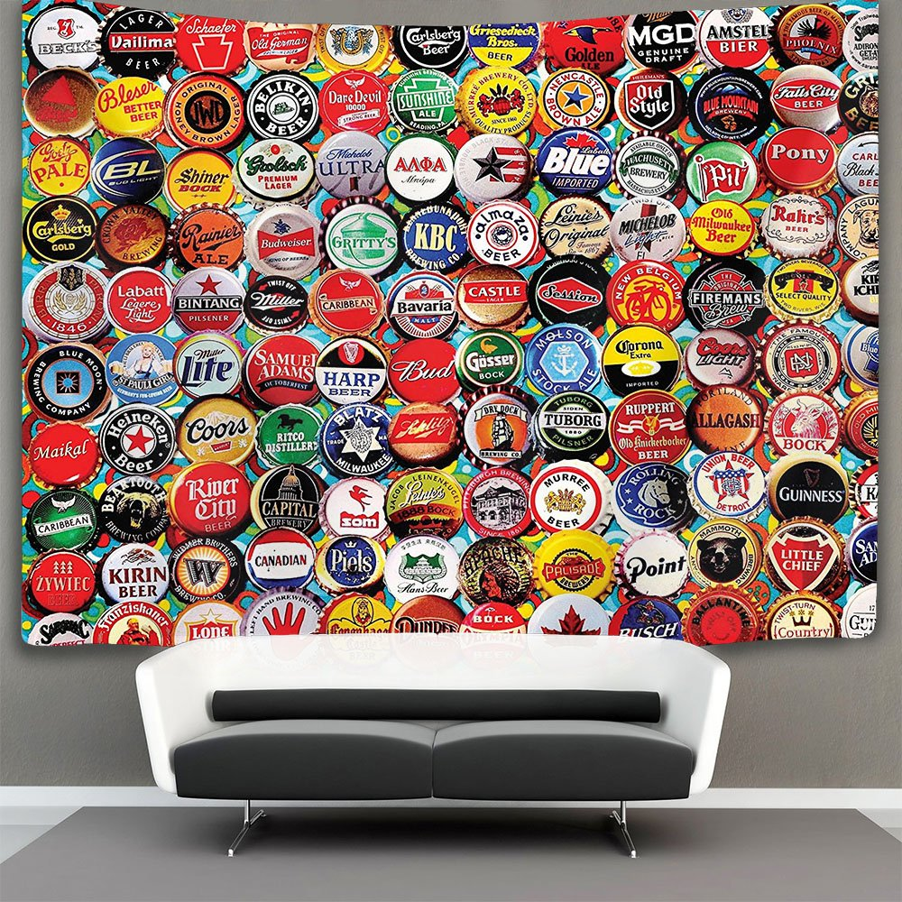 AMERICAN TANG world Beer bottle caps set Wall Tapestry Hippie Art Tapestry Wall Hanging Home Decor Extra large tablecloths 50x60 inches For Bedroom Living Room Dorm Room 50x60 inches