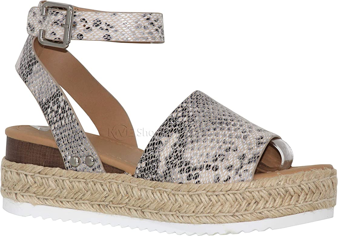 6301f82e6ad Shoes Women's Ankle Strap Flat Espadrilles - Cute Soda Summer Platforms  Sandals - Studded Casual Shoes