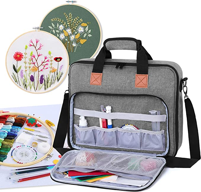 Embroidery Floss or Other Supplies Bag Only Yarwo Tote Bag for Embroidery Kits Peony Black Embroidery Starter Kits Organiser with Multiple Pockets Embroidery Storage Bag for Embroidery Hoops