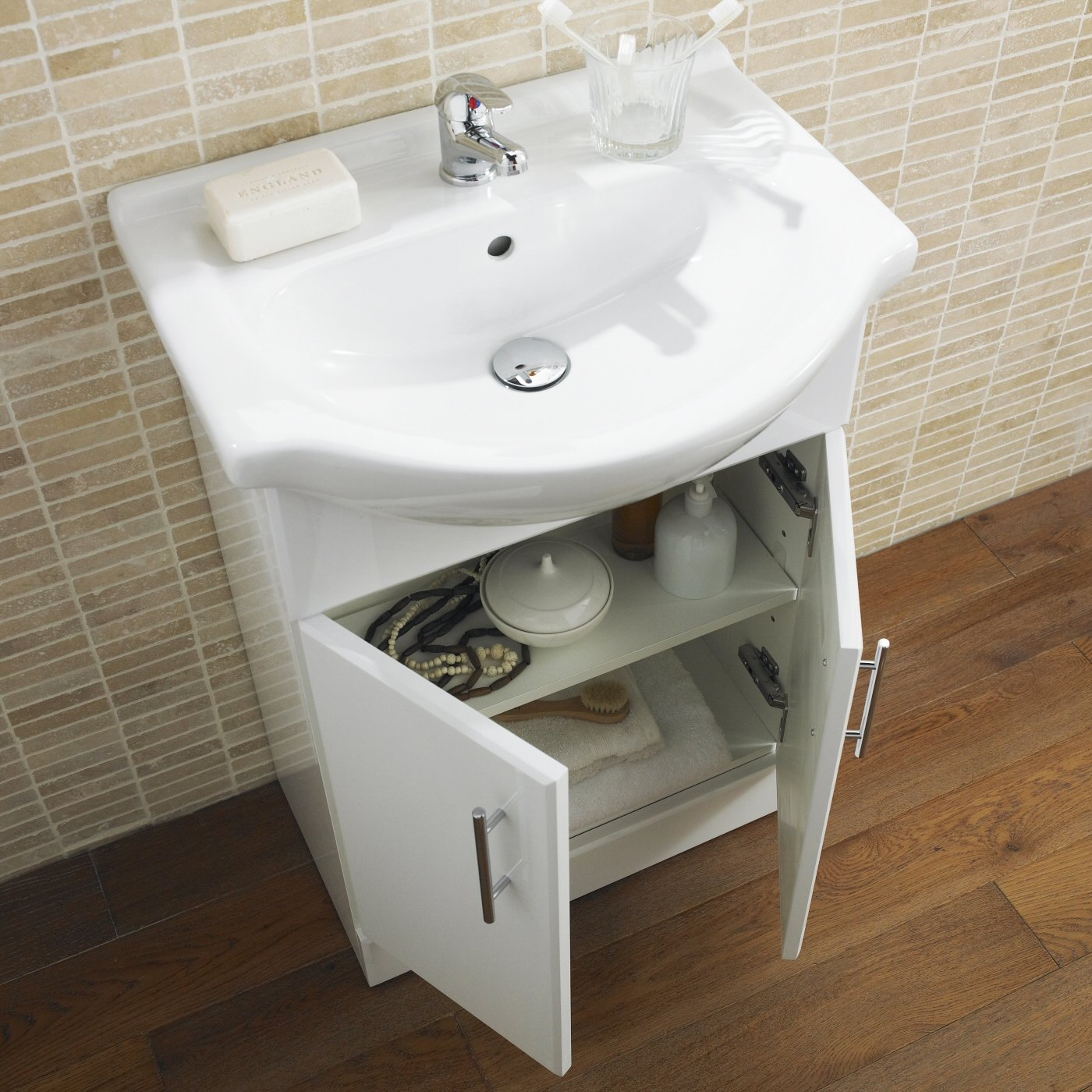White Gloss Bathroom Vanity Unit Basin Sink 550mm Cloakroom ...
