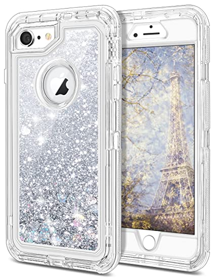 on sale 2bec9 ddab3 iPhone 6 Case, iPhone 6S Case, JAKPAK Shockproof Glitter Flowing Liquid  Bling Sparkle Cover for Girl Woman Heavy Duty Full Body Protective Shell  for ...