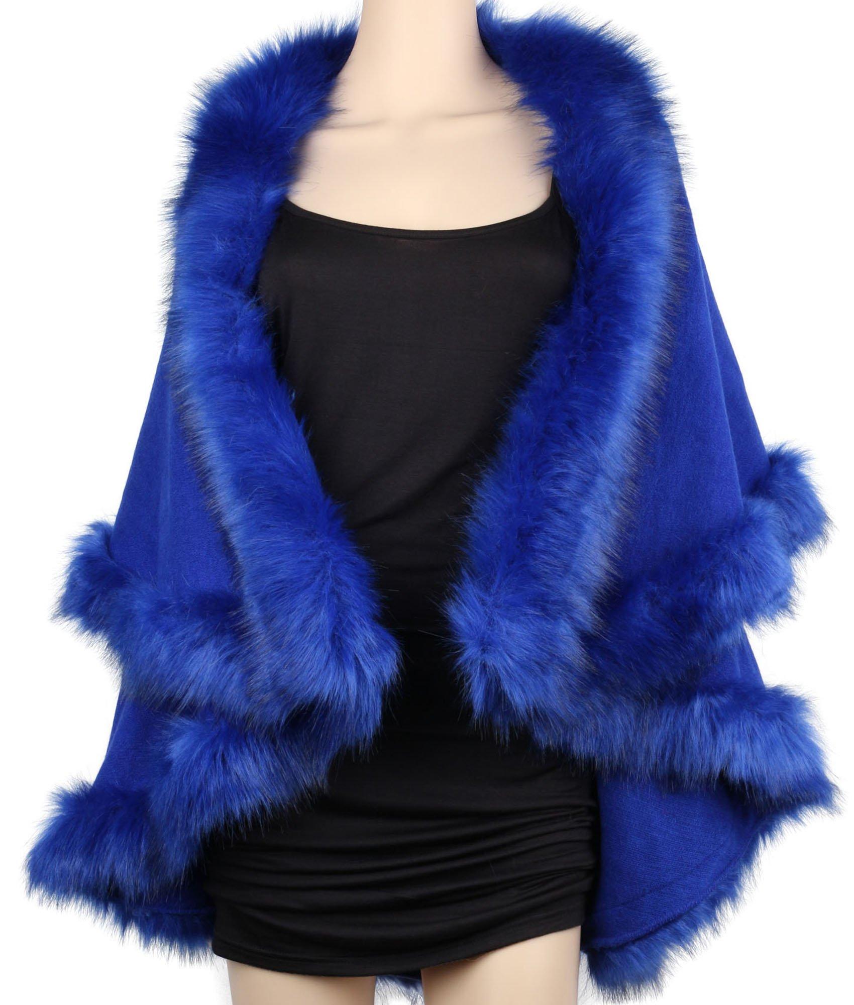 Womens Faux Fur Cape Coats Dress Plus Size (Blue)