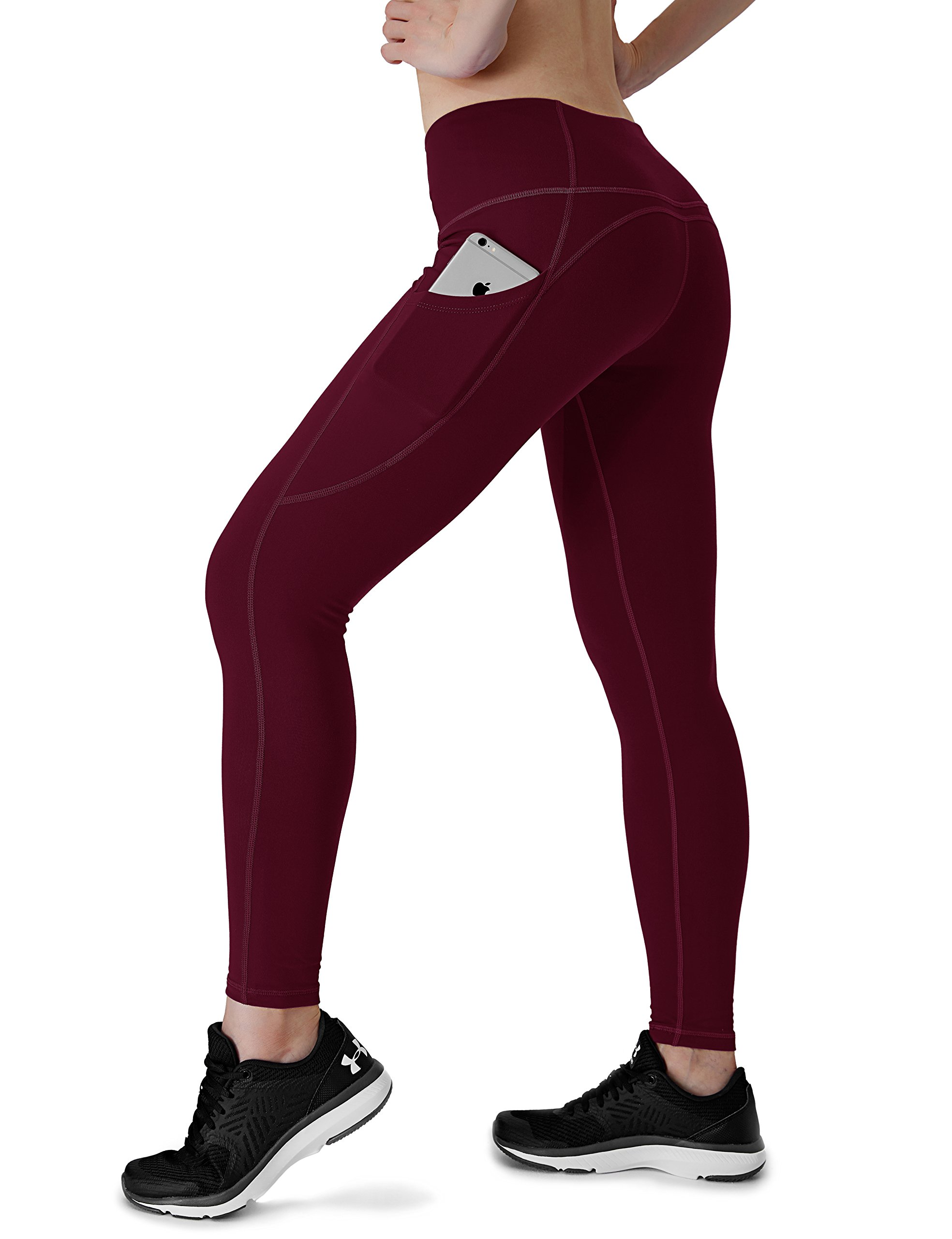 Dyorigin Leggings for Women – High-Waisted Tummy Control Compression Yoga Leggings Athletic Pants with Pockets (So Merlot, XS)