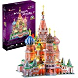 CubicFun LED Russia Cathedral 3D Puzzles for Adults Kids, St.Basil's Cathedral Architecture Building Church Model Kits Toys f