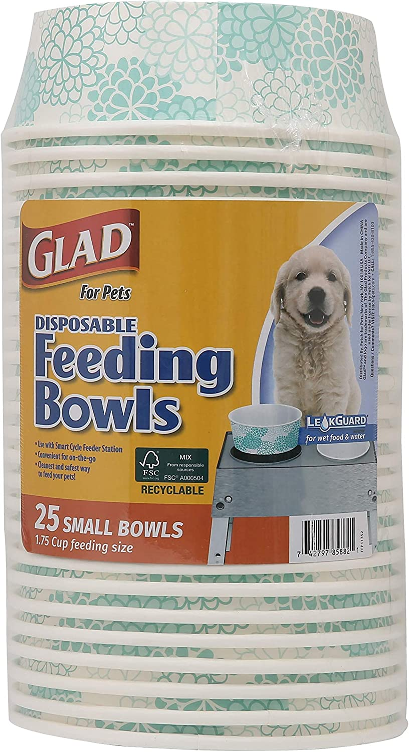 Glad for Pets Disposable Feeding Bowls | Small Dog Bowls in Teal Pattern | 1.75 Cup Feeding Size, 25 Count - Dog Bowls are Great for Dry and Wet Dog Food or Water
