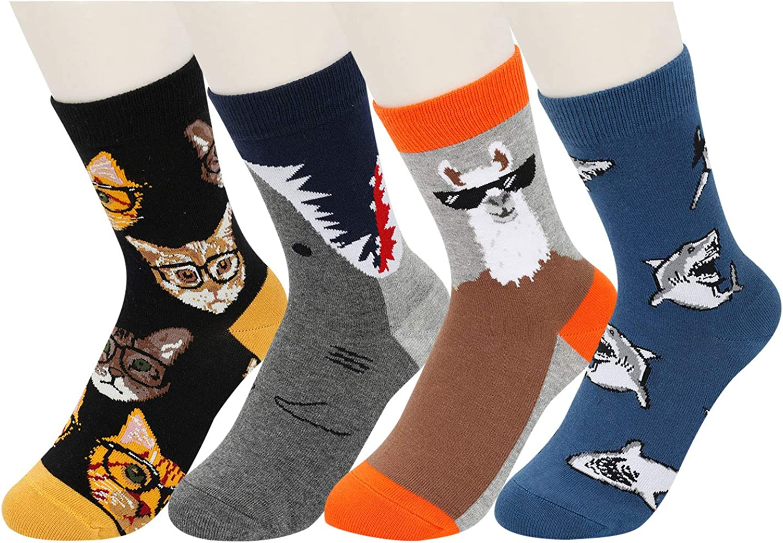 HAPPYPOP Boys Animal Shark Food Dinosuar Space Socks, Crazy Gift Socks for Kids