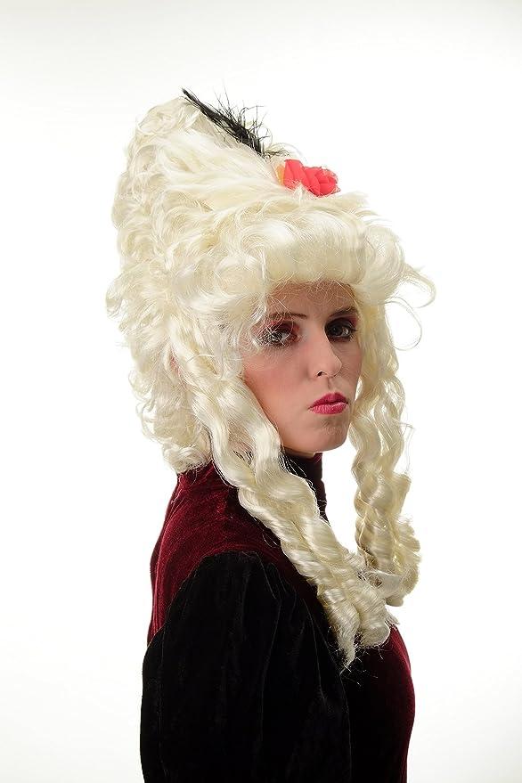 WIG ME UP ® - PT0045-P613 Peluca Mujer Carnaval Barroco Renacimiento Colmena Noble Reina María Antonieta Pompadour Rubio Platino: Amazon.es: Juguetes y ...