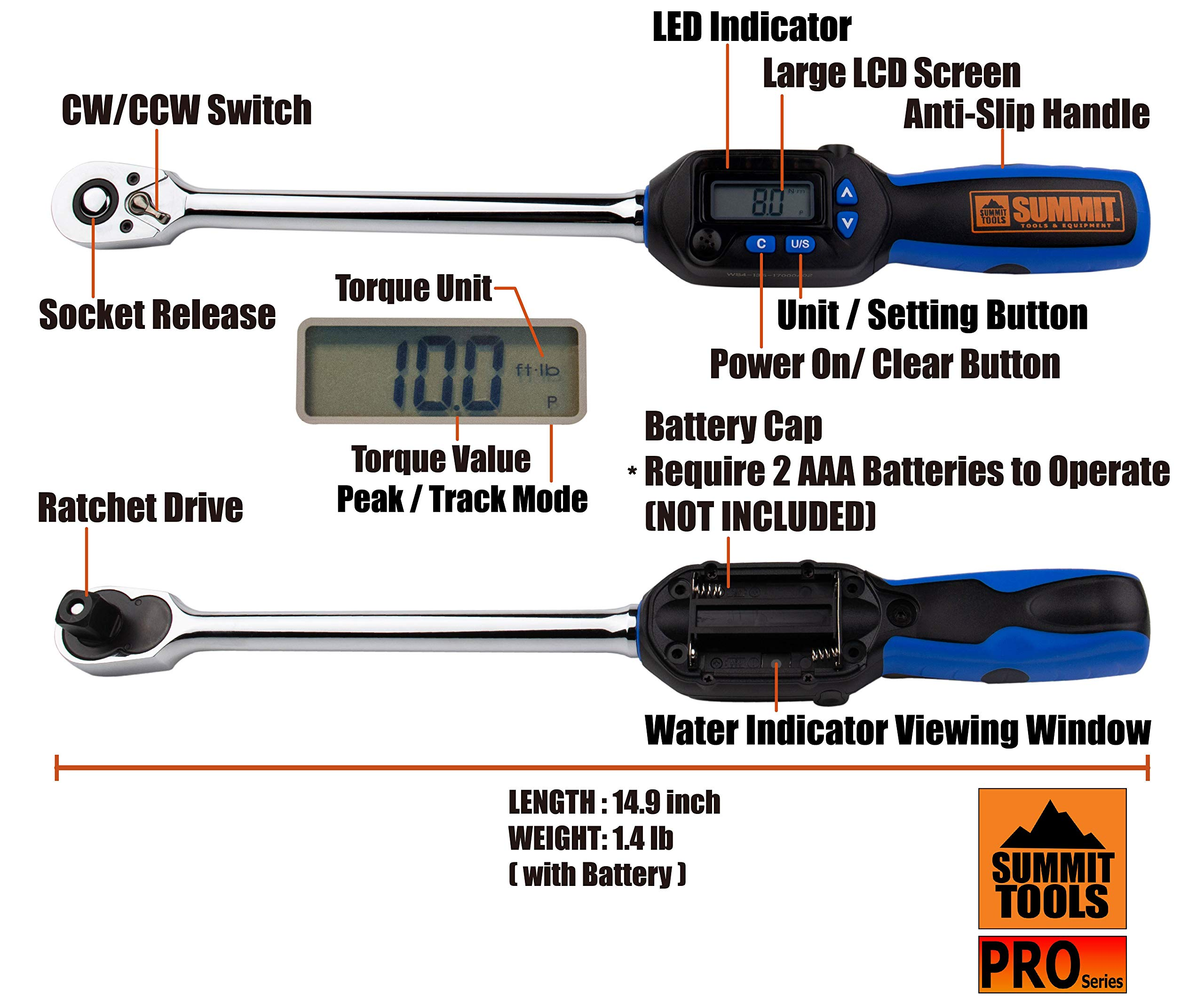 Summit Tools Digital Torque Wrench with 1/2-inch DR and 5-99.5 ft-lbs Torque Range, Buzzer and Sequential LED, 0.1 ft-lb Resolution with ±3% Tolerance, Certificate of Calibration (WSP4-135CN) by Summit Tools (Image #3)