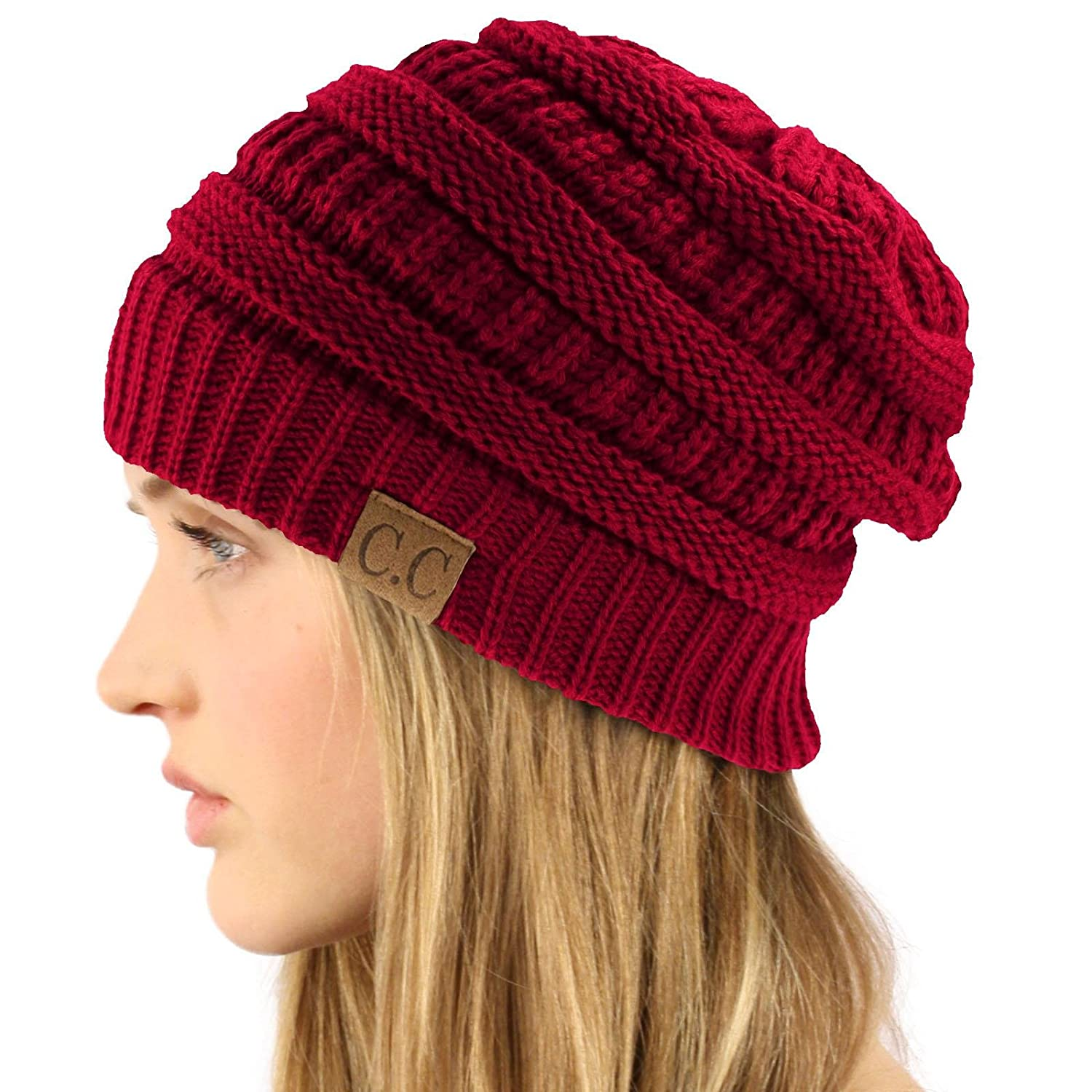 Unisex Winter Chunky Soft Stretch Cable Knit Slouch Beanie Skully Ski Hat Punkiss