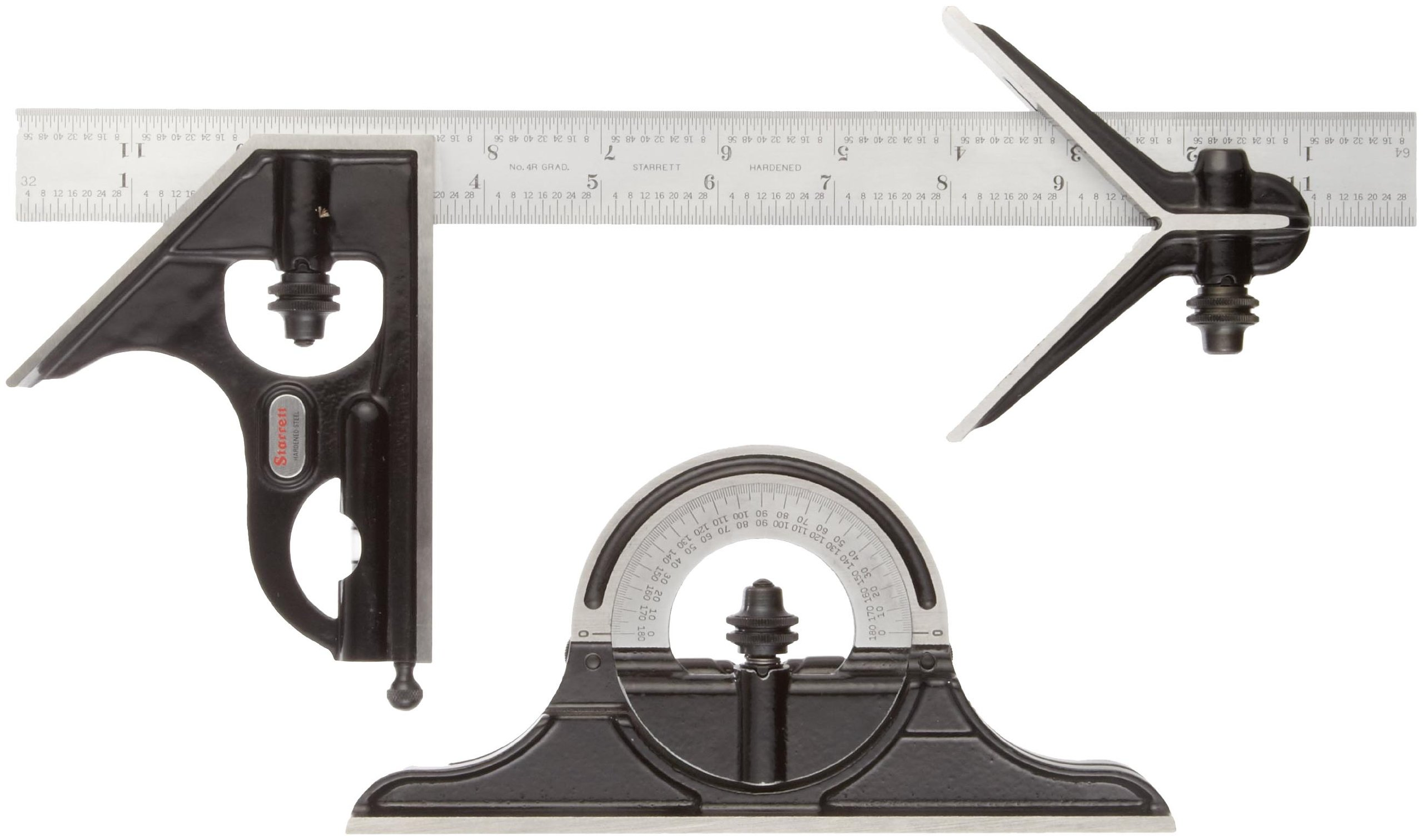Starrett C434-12-4RW/SLC Forged, Hardened Square, Center And Reversible Protractor Heads With Blade Combination Set, Smooth Black Finish, 4R Graduation, 12'' Size