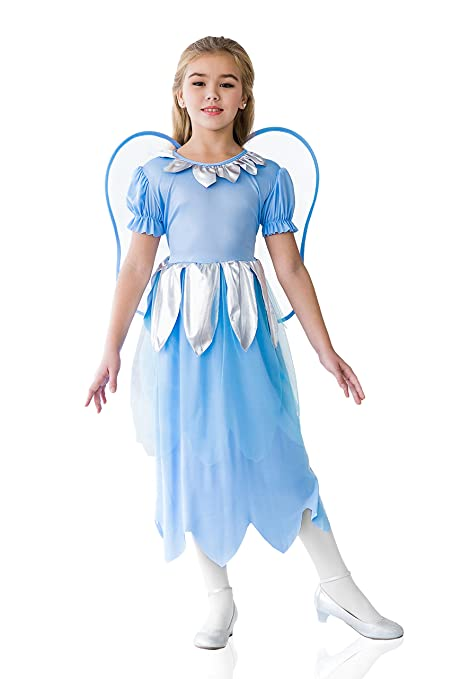 Kids Girls Blue Fairy Halloween Costume Elf Butterfly Pixie Dress Up & Role Play (8-11 years, light blue, silver)