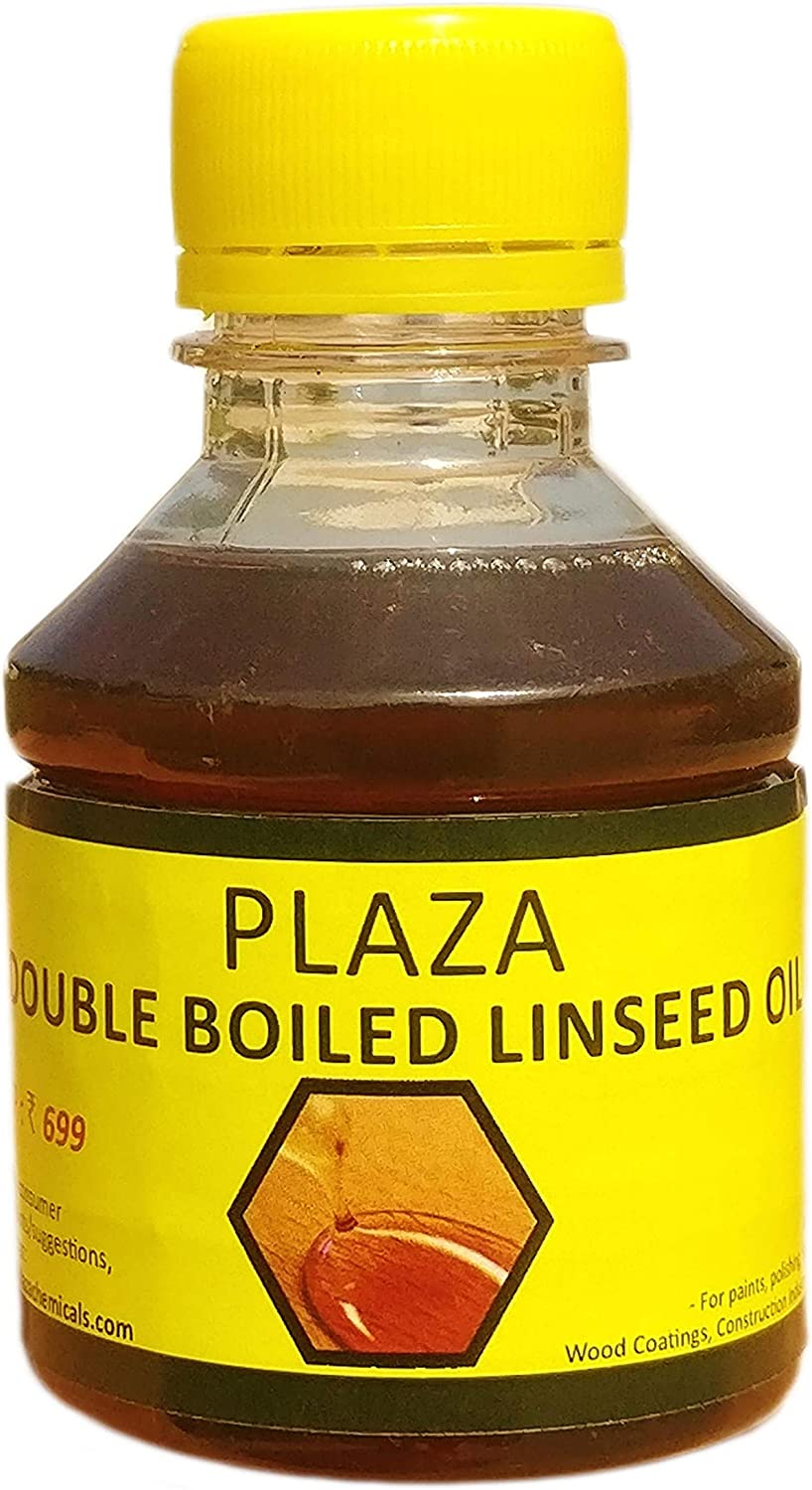 PLAZA - Double Boiled Linseed Oil - 100 ml Pack used for Wood Finishing, On Walls before applying paint, mixing in putty, bare wooden furniture, outside wooden furniture, Cricket bats, hockey, guitar,
