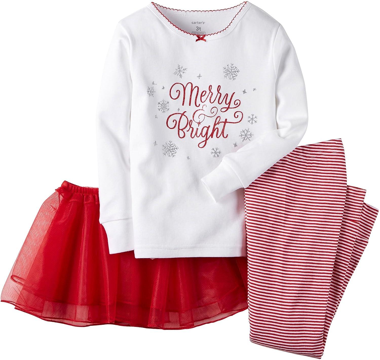 Carters Baby Girls Christmas 3-Piece Cotton Pjs with Tutu Set
