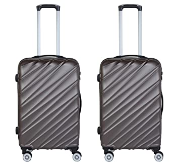 3G Combat Series 8018 ABS Set of 2 20 Inch Hard Sided Cabin Size Brown Suitcase