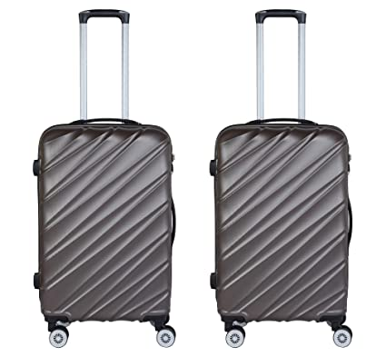 3G Combat Series 8016 ABS Set of 2 55 cm/20 Inch Hard Sided Cabin Size Red Luggage Trolley