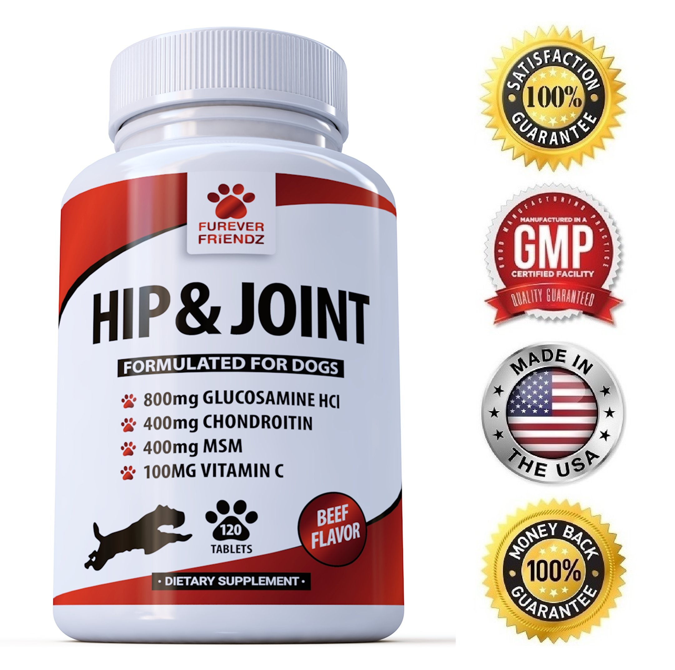 Furever Friendz Advanced Hip And Joint Support - Glucosamine Chondroitin MSM For Dogs - Chewable Tablets With Vitamins C & E - Pain Relief Medicine Treats For Arthritis & Dysplasia