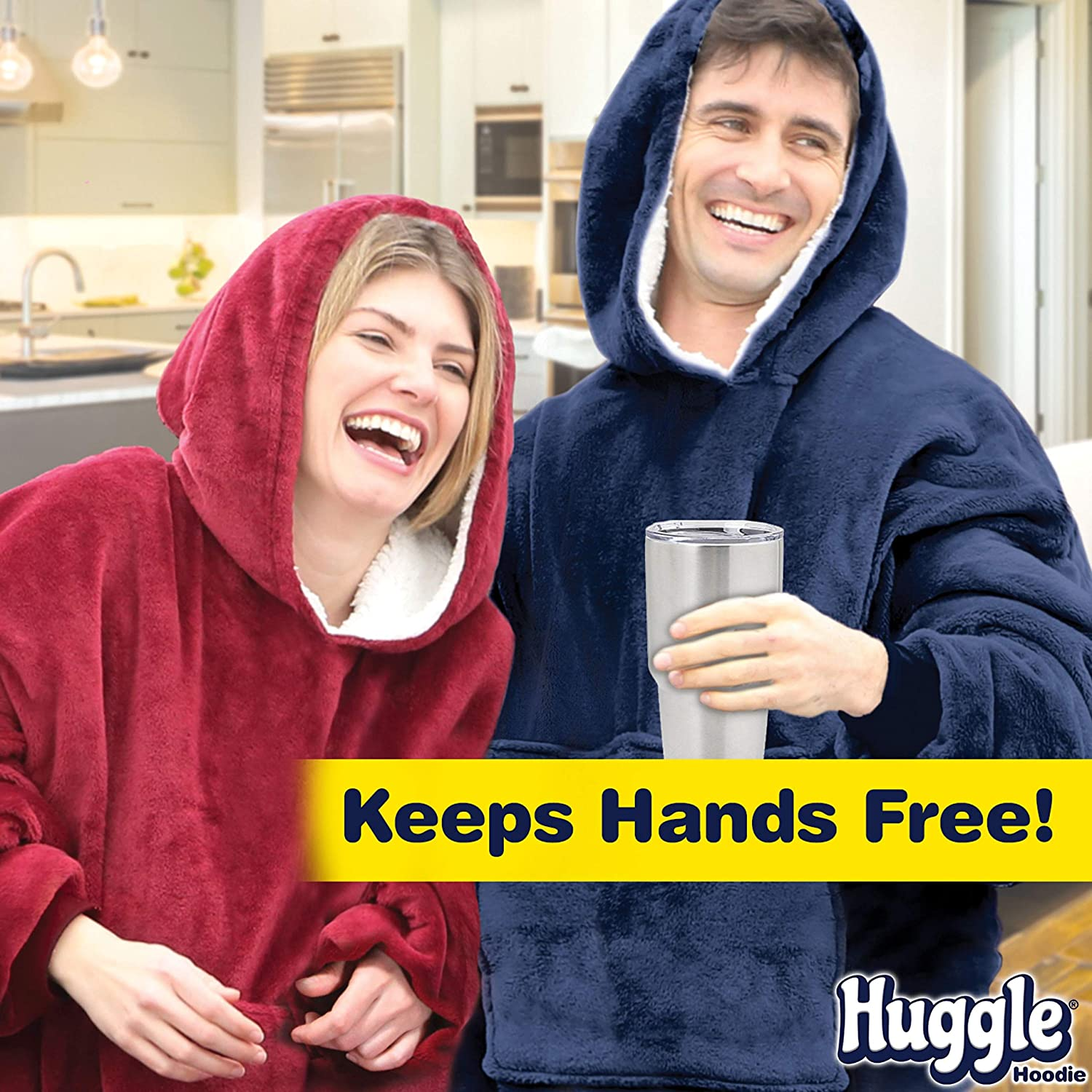 Ontel Huggle Hoodie - Hooded Robe Sweatshirt, Blue - As Seen on TV: Home & Kitchen
