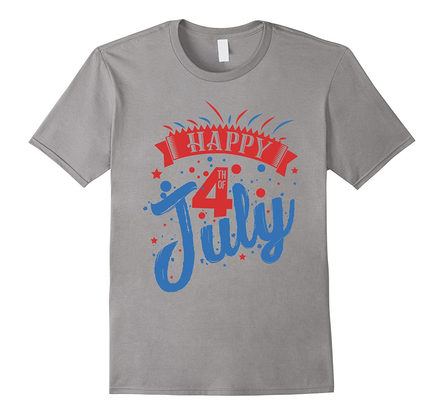 Happy 4th of July Celebration-Red White and Blue-T-Shirt-PL