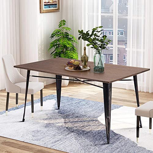 P PURLOVE Dining Table Rectangular Rustic Style Living Room Table with Metal Legs, Only Table, Not Include Bench or Chairs, Distressed Brown and Distressed Black