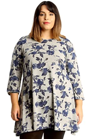 35b1bdec356c76 Nouvelle Collection Womens Plus Size Swing Top Tunic Skater Style Floral  Print Flared Hem: Amazon.co.uk: Clothing